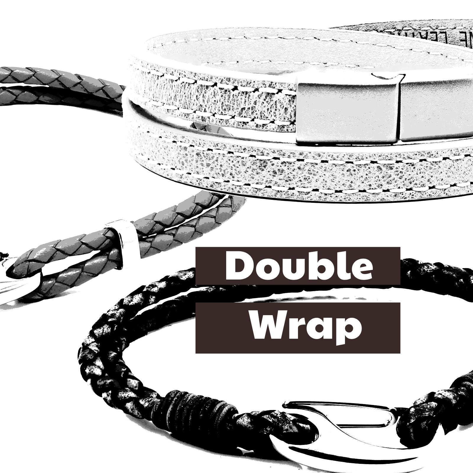 Two Strands of Leather Wrap around your Wrist Bracelet.