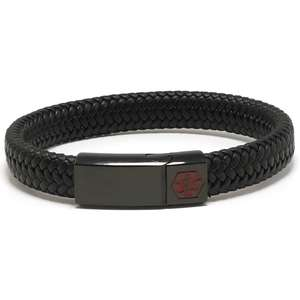 All Black Wide Braided Leather Medical Alert ID Bracelet