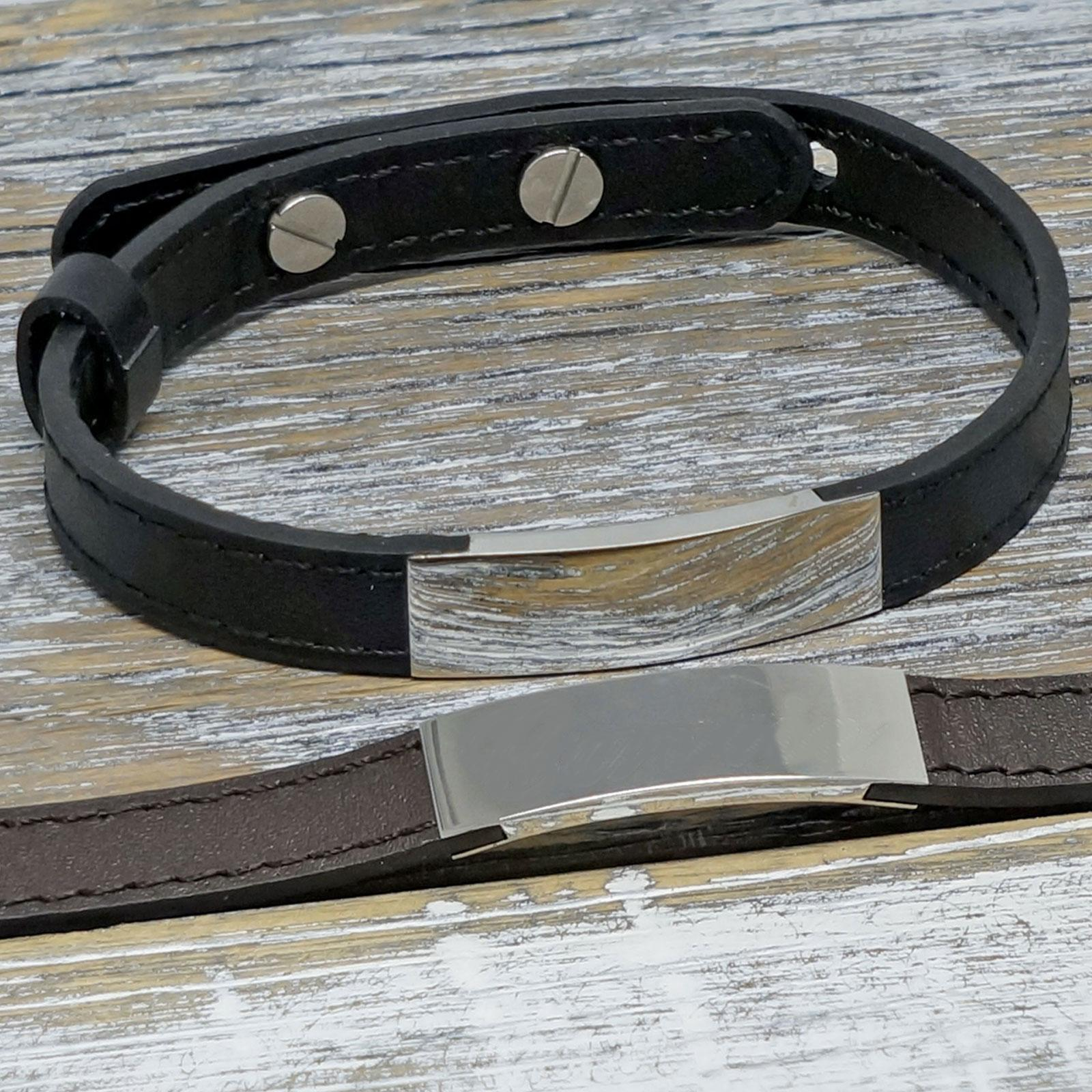Personalized Unisex Leather Bracelet with any engraving