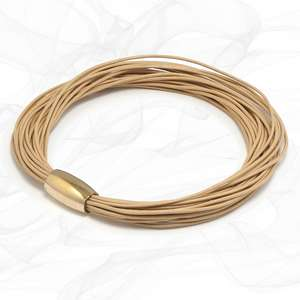 Beige Multi Strand Leather Bracelet for Women, one size, Limited Edition.