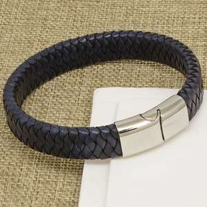 Mens Chunky Navy Blue Braided Leather Bracelet with a Silver Sliding Magnetic Clasp.
