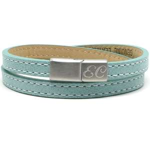 Turquoise Personalised Initial ID Leather Bracelets for her