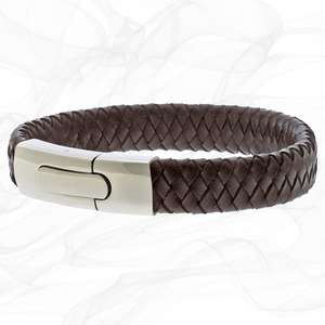 Brown Personalised Chunky Leather Bracelets for men