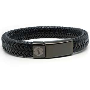 All Black Leather Medical Alert ID Bracelet
