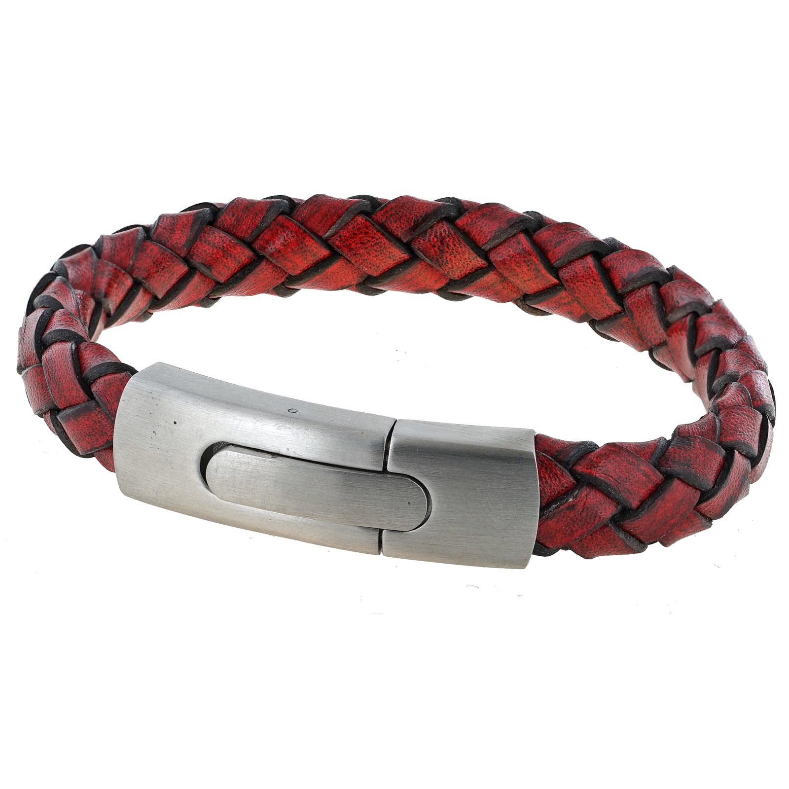 Mens Vintage Red Plaited Leather Bracelet with a Large Steel Clasp