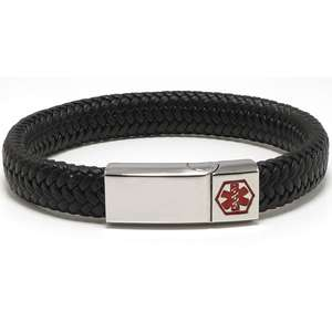 Black and Silver VEGAN 12mm Braided Leather Medical Alert ID Bracelet