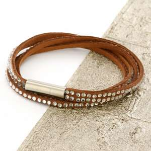 Brown Womens Stacker Leather Beaded Bracelet, Multi Row Layer Stack Wristband