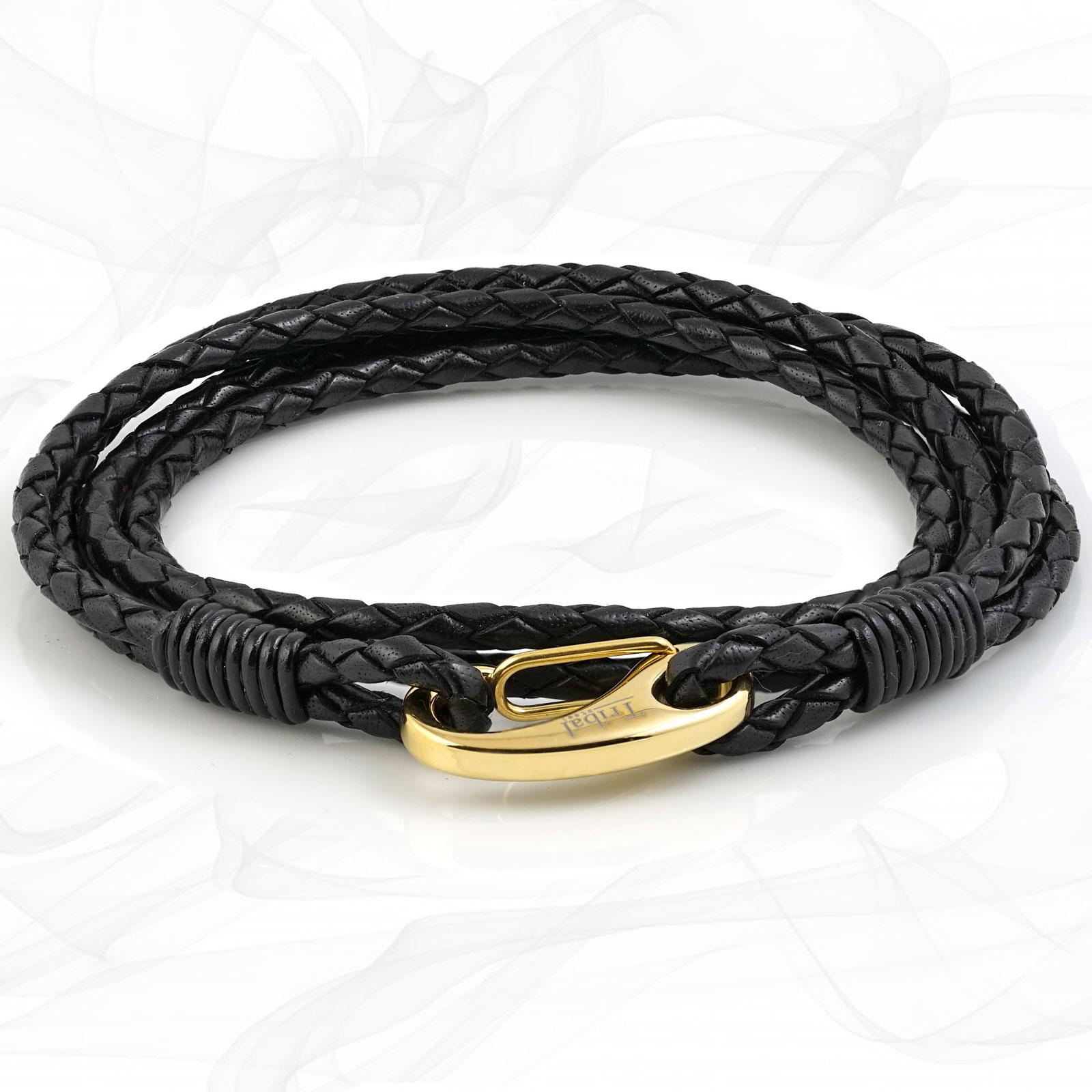 Mens Elegant Black Quad Wrap Bolo Leather Bracelet with Gold Colored Steel Lobster Clasp by Tribal Steel