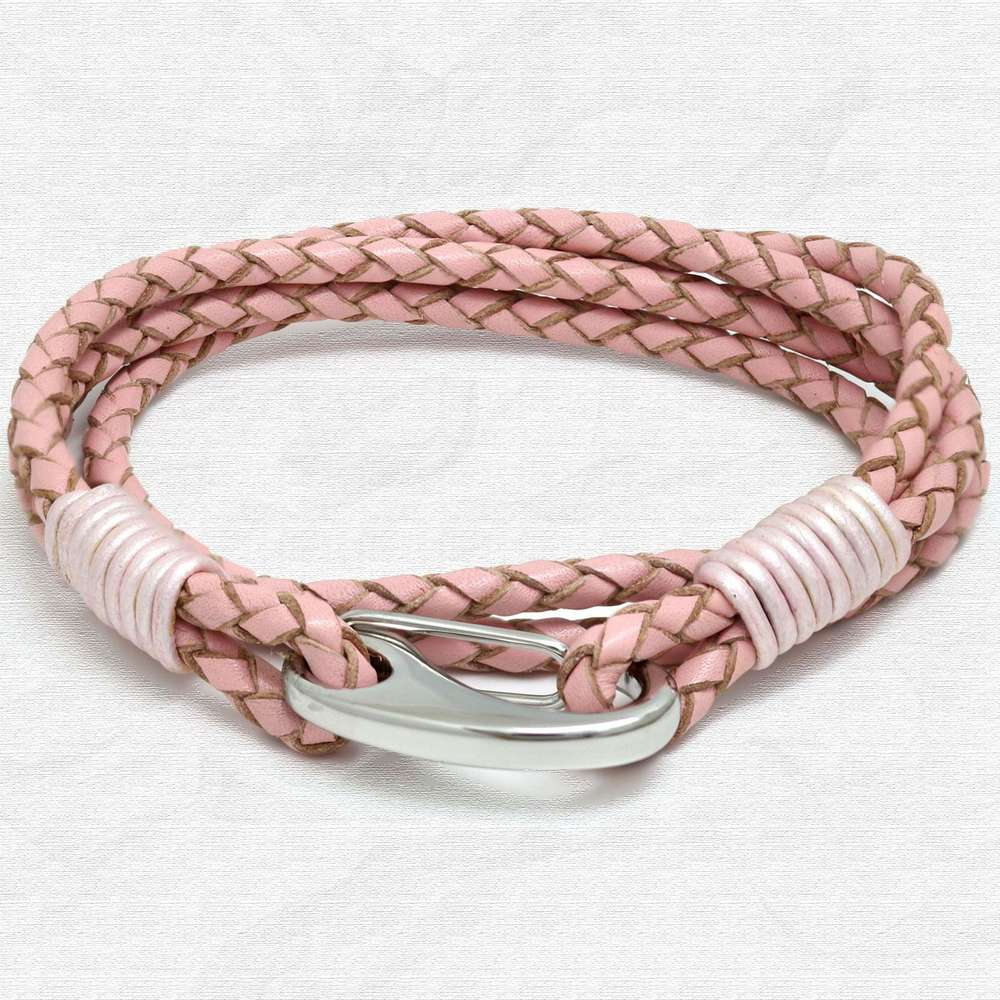 Pink Four Strap Bolo Leather Bracelet with Steel Lobster Clasp