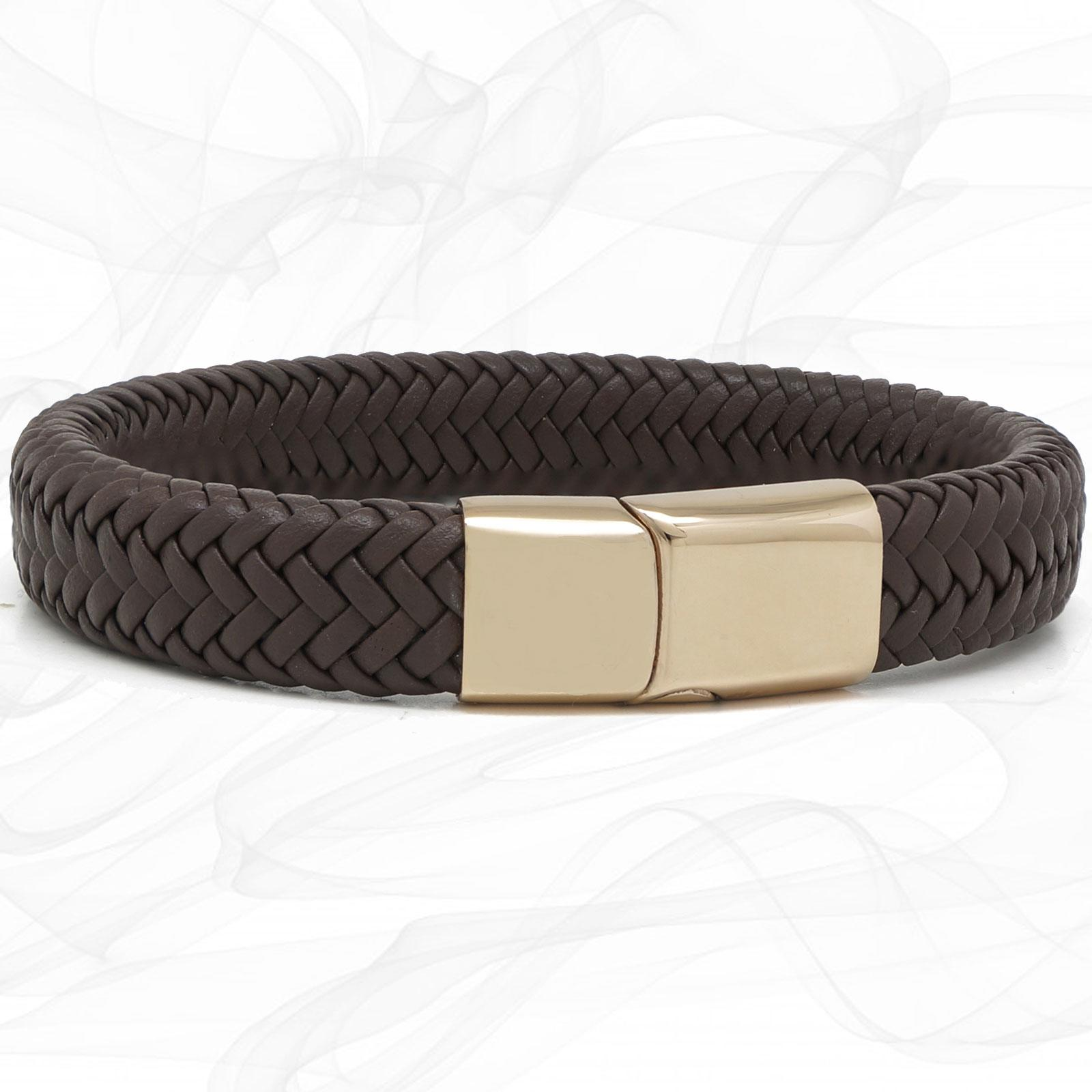 Chunky Brown Super Soft Premium Leather Bracelet with a Rose Gold Sliding Magnetic Clasp.