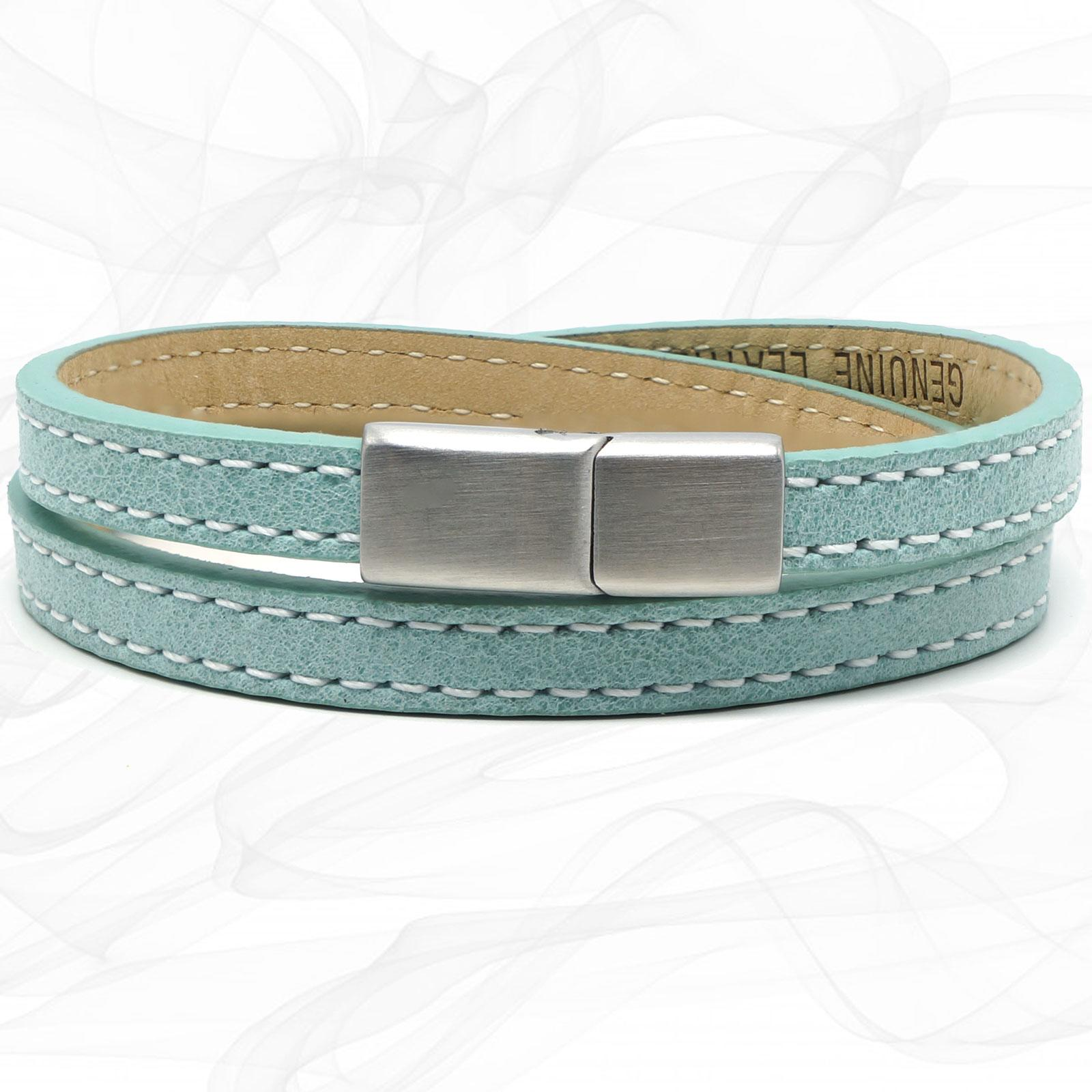 Girls Turquoise FROSTED Silver Steel CLASP TWO STRAP LEATHER BRACELET