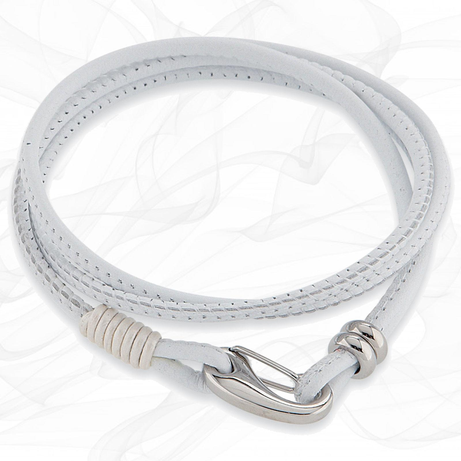 Simple White smooth 3mm Nappa Double wrap Leather Bracelet for Women