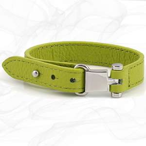 St Christopher Lime Green Square Buckle Leather Wrap around Adjustable Bracelet