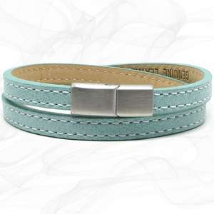 Elegant Green TWO STRAP LEATHER BRACELET