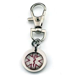 Medical Alert Stainless Steel Keyring with Lobster Clasp