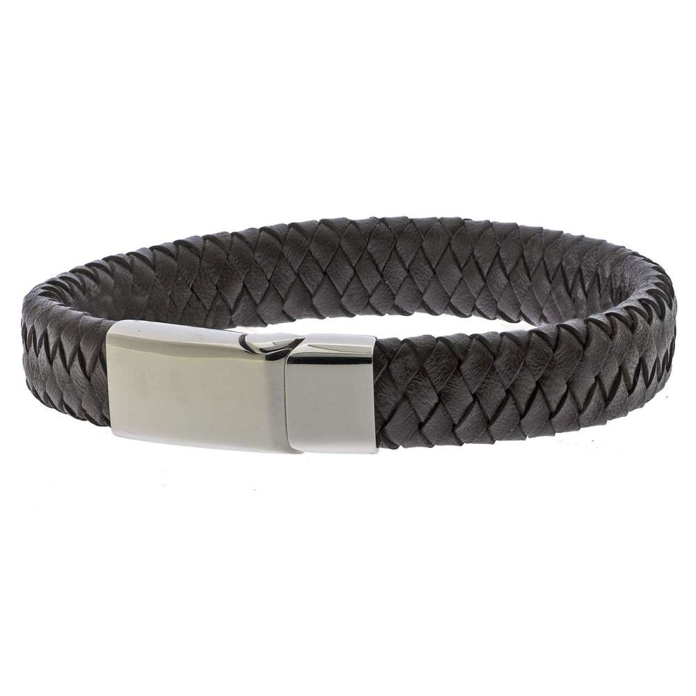 Brown Braided Leather Bracelet for men with a steel magnetic sliding clasp