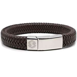 Brown Leather Medical Alert ID Bracelet