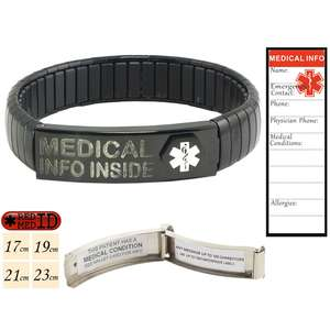 Black Stainless Steel Medical Alert ID Bracelet with pre-printed Waterproof Labels