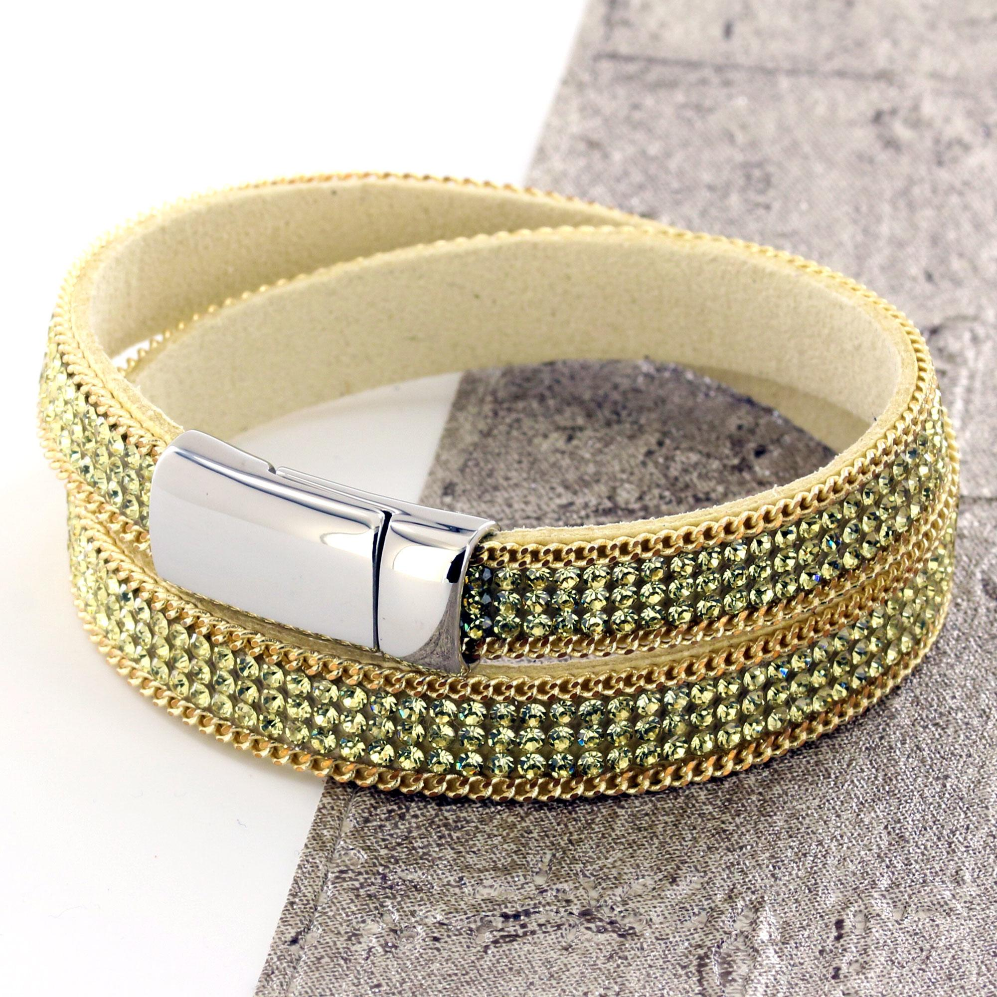 Gold and Yellow Girls Glass Studded Suede Wrap Bracelet