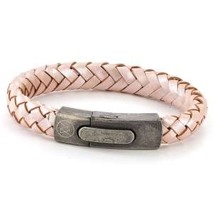 Mens Pink Leather Bracelet