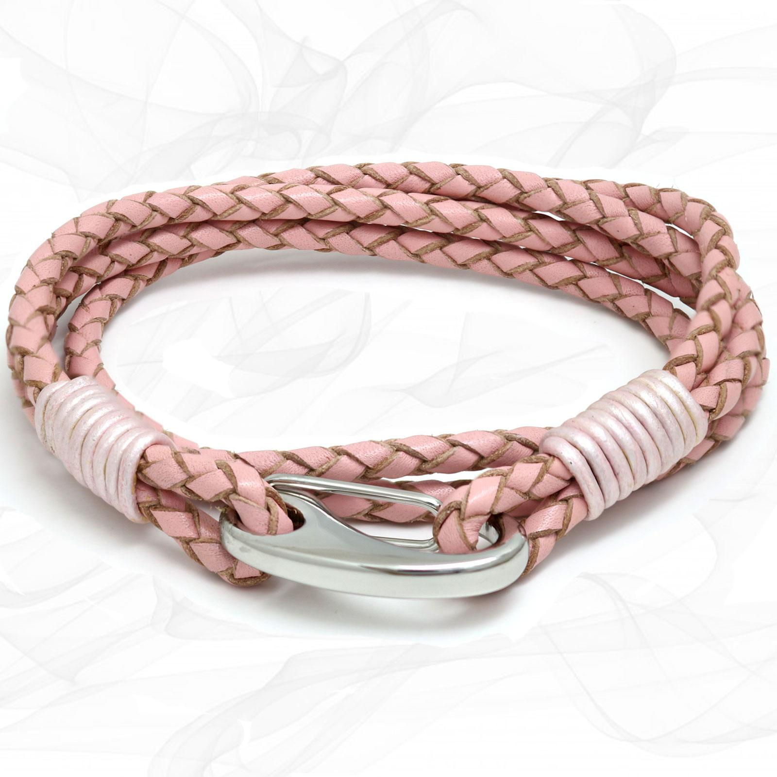 Pink Quad Wrap Bolo Leather Bracelet with Steel Lobster Clasp by Tribal Steel