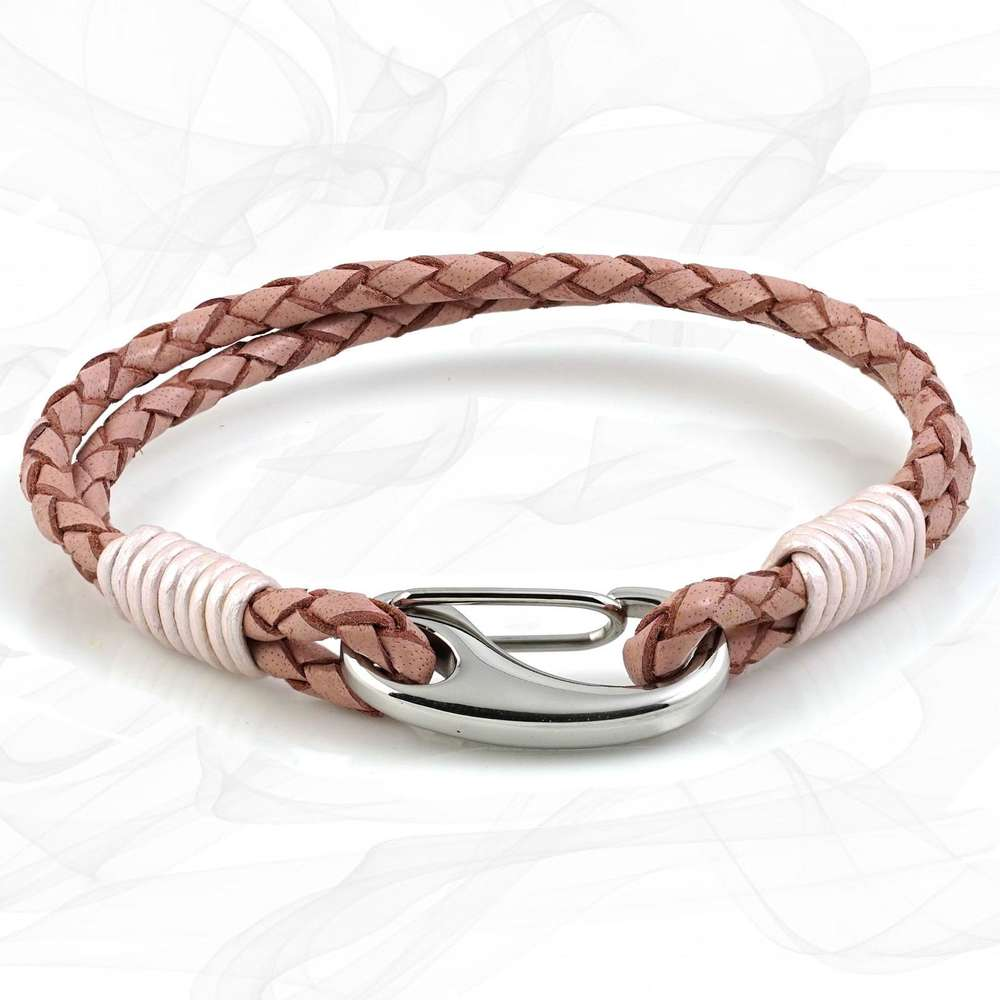 Pink Double Wrap Bolo Leather Bracelet with Steel Lobster Clasp by Tribal Steel