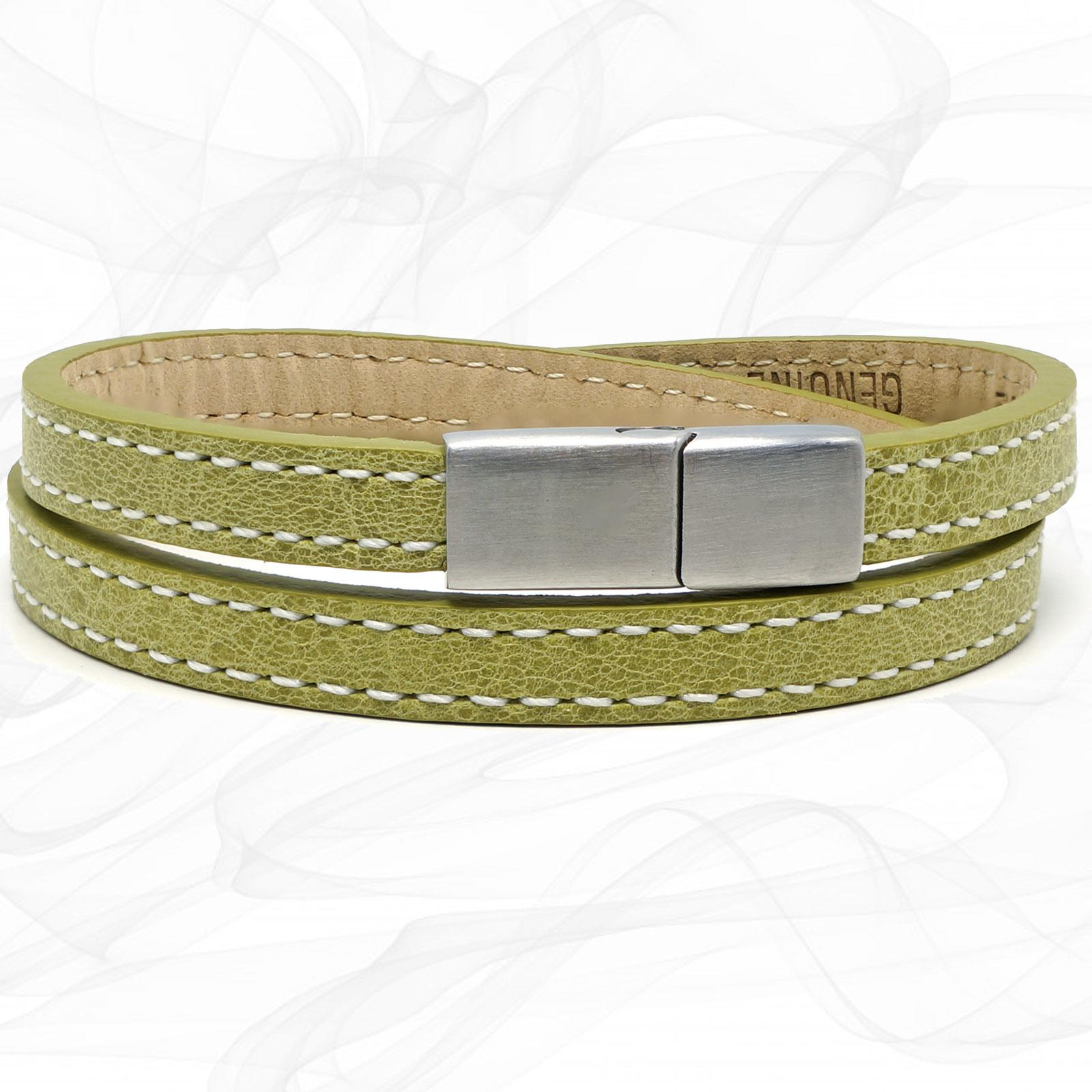 Girls LEMON LIME FROSTED SILVER STEEL CLASP TWO STRAP LEATHER BRACELET