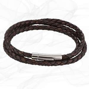 ANTIQUE BROWN GIRLS Triple Strand LEATHER BRACELET with Magnetic Clasp