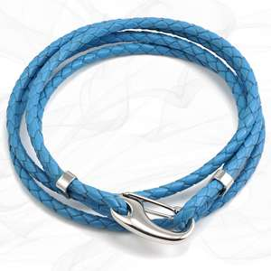 Blue Four Strap Bolo Leather Bracelet with a Petit Steel Lobster Clasp