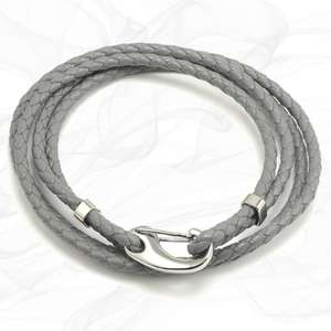 Grey Four Strap Bolo Leather Bracelet with a Petit Steel Lobster Clasp