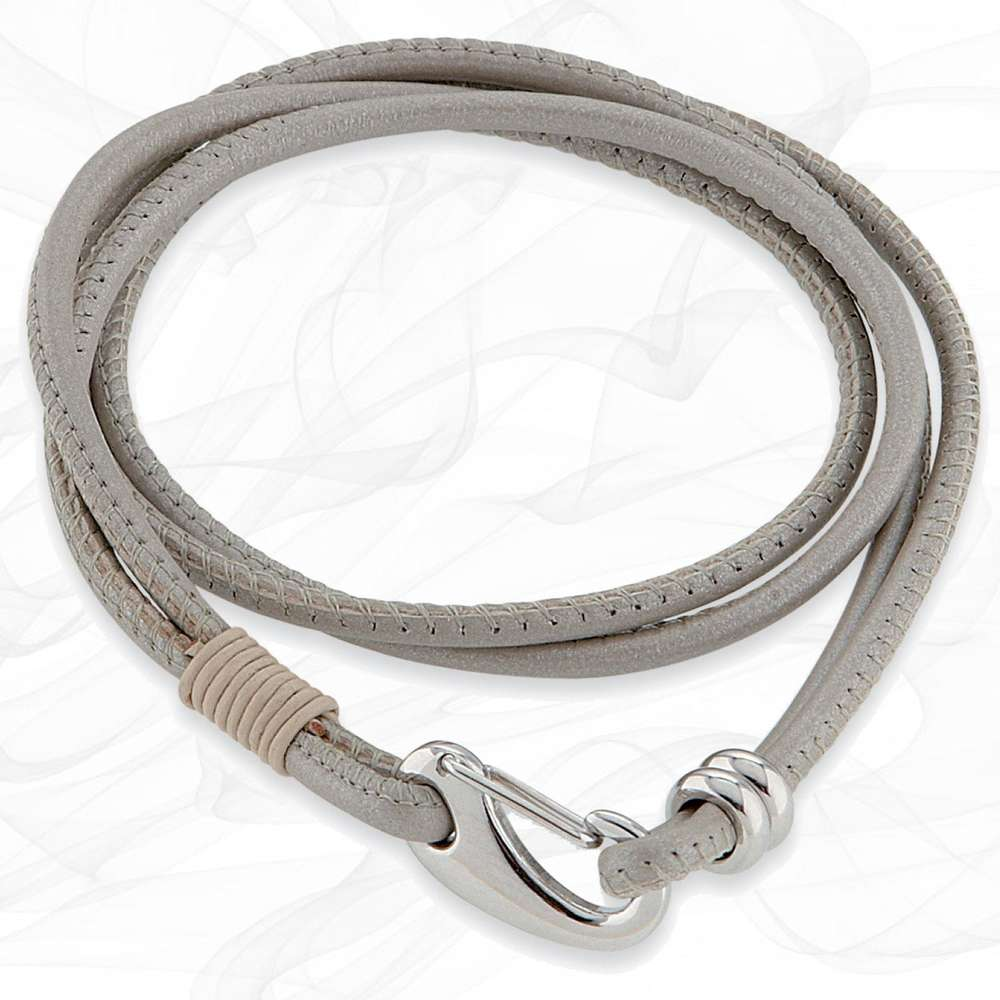 Simple smooth Pearl Grey White 3mm Nappa Double wrap Leather Bracelet for Women
