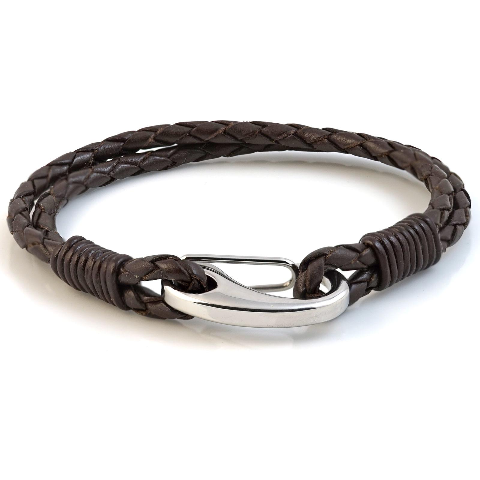 Brown Two Strap Bolo Leather Bracelet with Steel Lobster Clasp