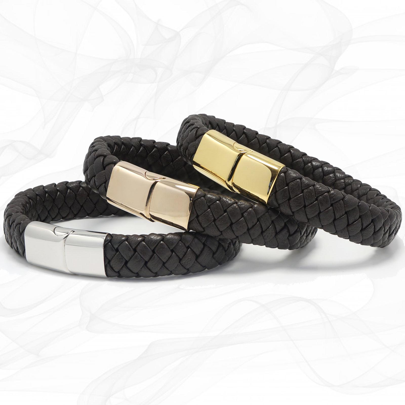 Mens Chunky Lamb Leather Plaited Bracelet with a Sliding Magnetic Clasp.