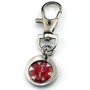 Silver Medical Alert Stainless Steel Keyring with Lobster Clasp