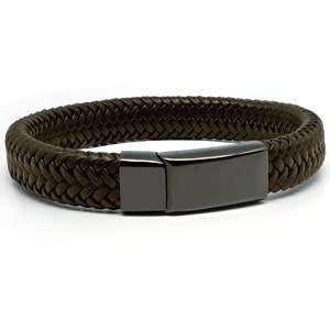 Brown & Black Leather Medical Alert ID Bracelet