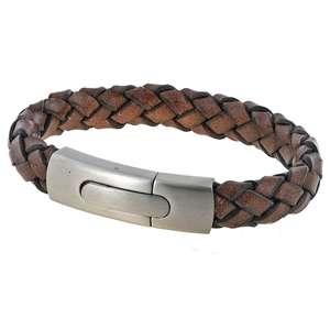 Mens Vintage Brown Plaited Leather Bracelet with a Large Steel Clasp