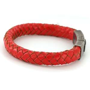 Mens Vintage Red Leather Bracelet