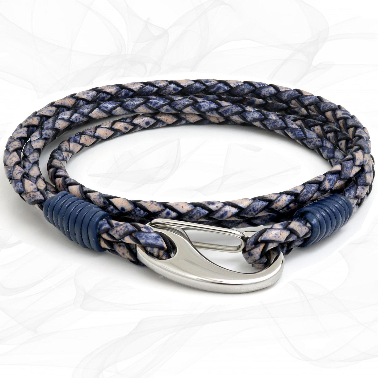 Denim Blue Quad Wrap Bolo Leather Bracelet with Steel Lobster Clasp by Tribal Steel