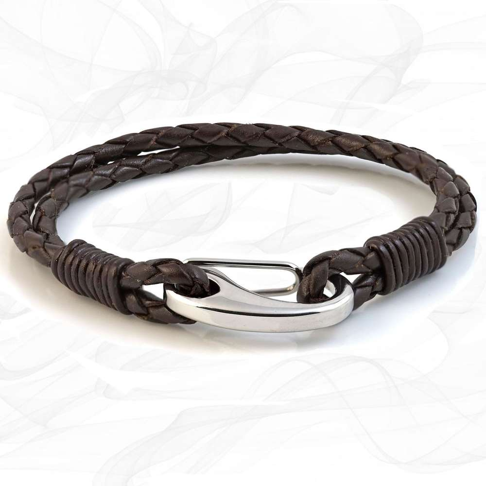 Brown Double Wrap Bolo Leather Bracelet with Steel Lobster Clasp by Tribal Steel