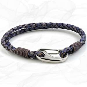 Stressed Violet Purple Double Wrap Bolo Leather Bracelet with Steel Lobster Clasp by Tribal Steel