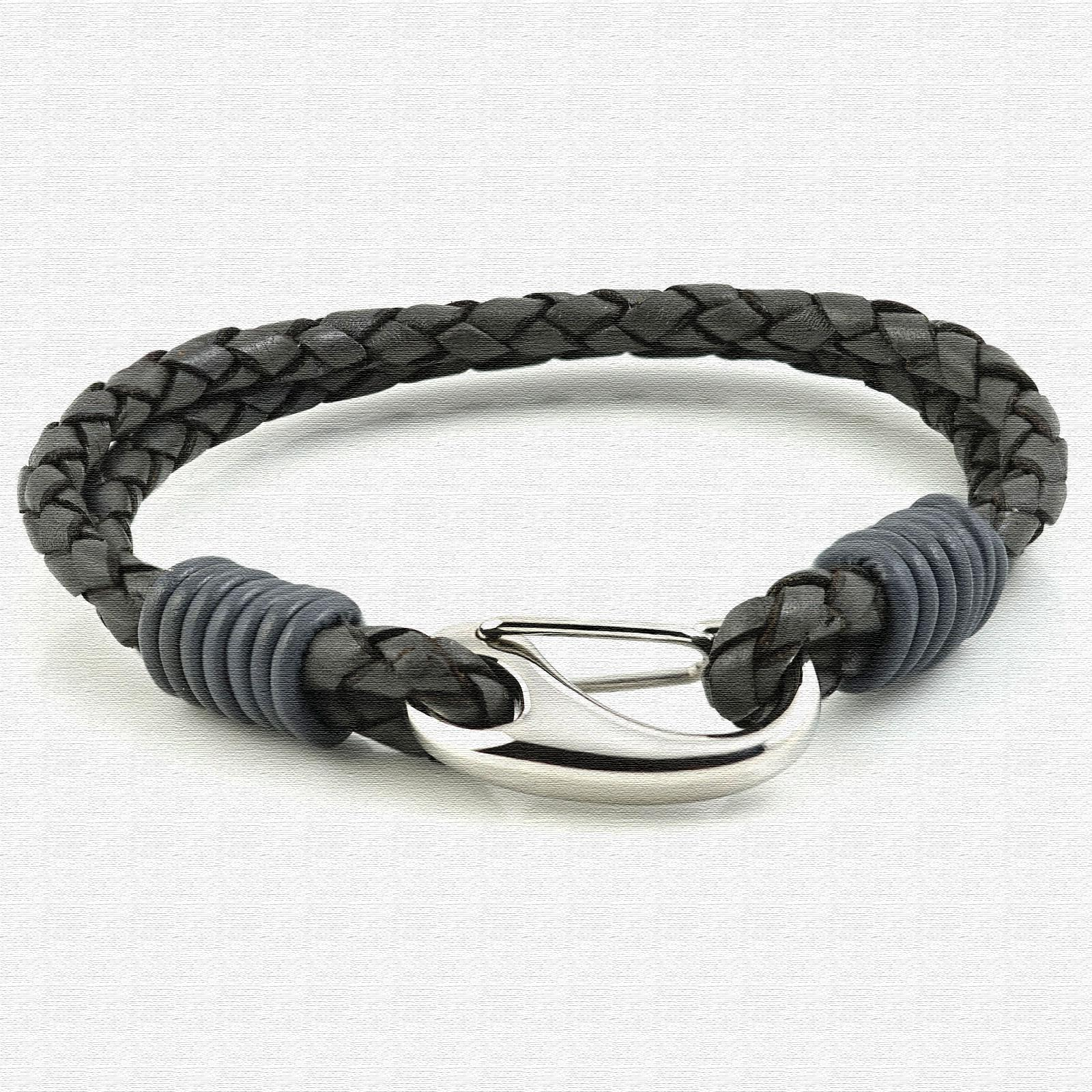 Grey Two Strap Bolo Leather Bracelet with Steel Lobster Clasp