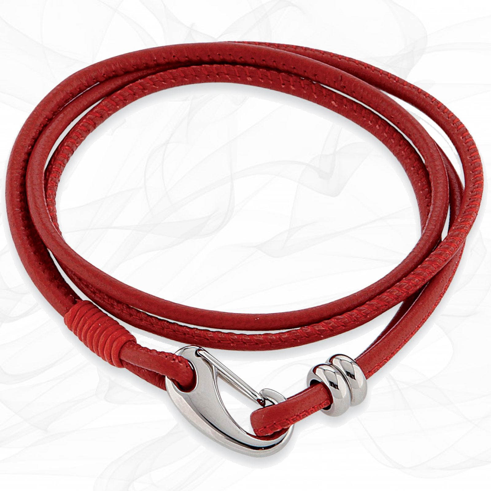 Simple smooth Red 3mm Nappa Double wrap Leather Bracelet for Women