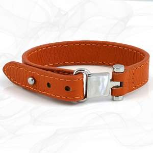 St Christopher Orange Square Buckle Leather Wrap around Adjustable Bracelet