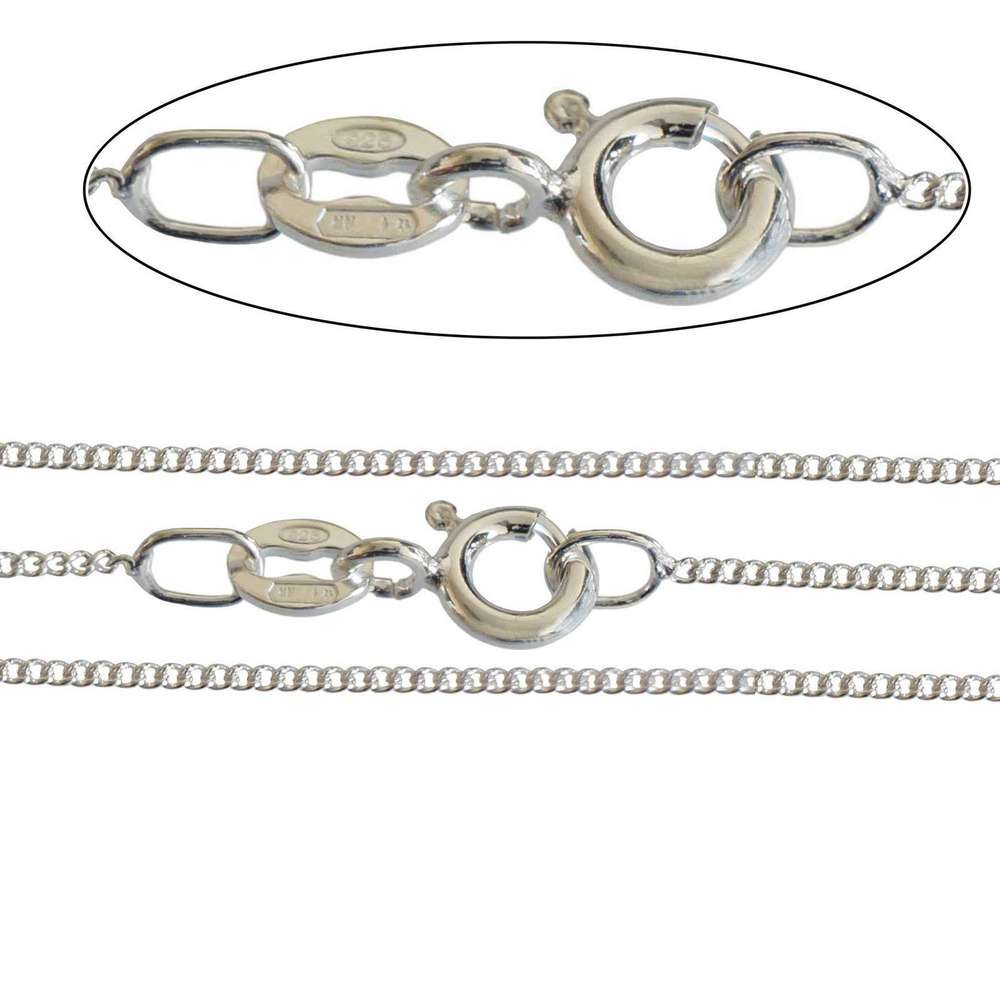 Italian made 925 Sterling Silver 1mm Curb Chains