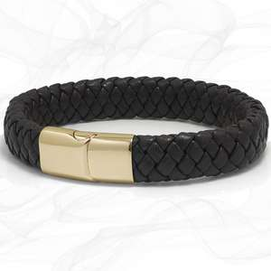 Mens Chunky Brown Lamb Leather Plaited Bracelet with a Gold Sliding Magnetic Clasp.