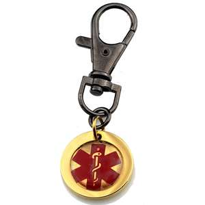 Gold Medical Alert Stainless Steel Keyring with Lobster Clasp