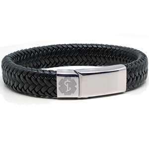 Black Leather Medical Alert ID Bracelet