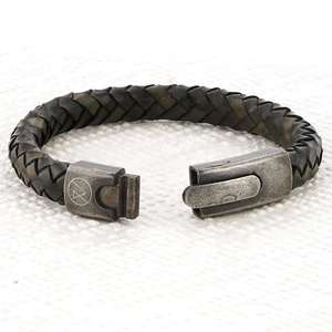 Mens Vintage Grey Leather Bracelet