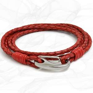 Red Quad Wrap Bolo Leather Bracelet with Steel Lobster Clasp by Tribal Steel