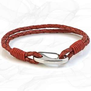 Red Double Wrap Bolo Leather Bracelet with Steel Lobster Clasp by Tribal Steel